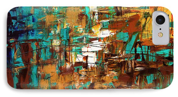 IPhone Case featuring the painting Turquoise Scent by Carmen Guedez