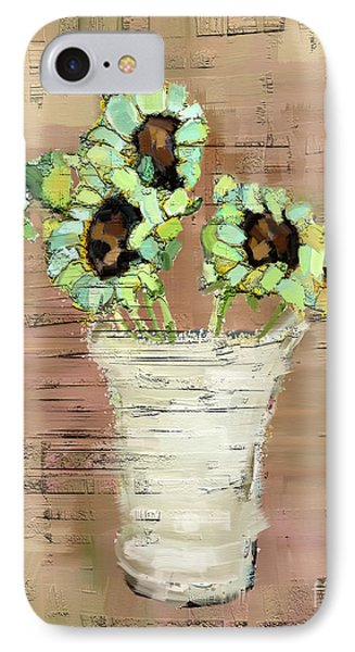 IPhone Case featuring the painting Turquoise Sunflowers by Carrie Joy Byrnes