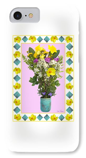 Turquoise Vase With Spring Bouquet Phone Case by Lise Winne