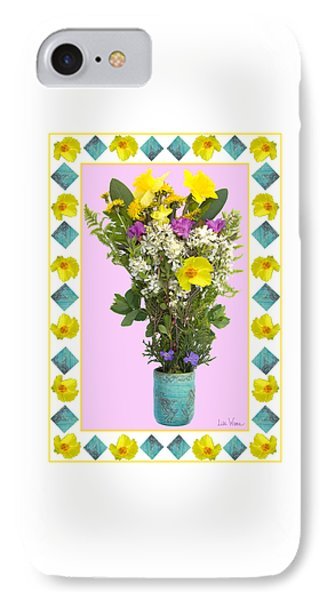 IPhone Case featuring the digital art Turquoise Vase With Spring Bouquet by Lise Winne
