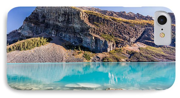 IPhone Case featuring the photograph Turquoise Water Of The Scenic Lake Louise by Pierre Leclerc Photography