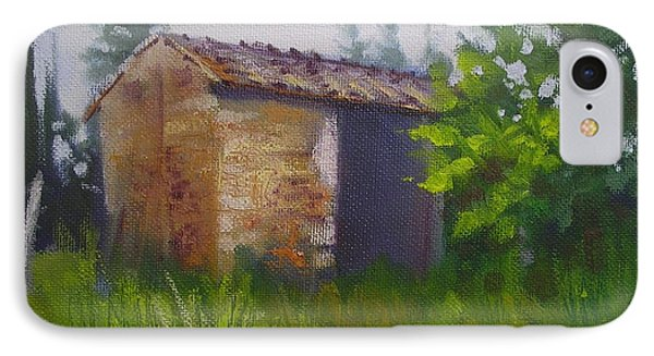 IPhone Case featuring the painting Tuscan Abandoned Farm Shed by Chris Hobel