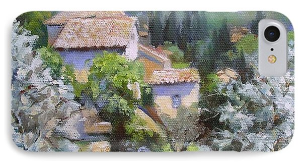 IPhone Case featuring the painting Tuscan  Hilltop Village by Chris Hobel