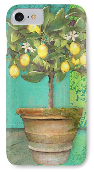 Tuscan Lemon Topiary - Damask Pattern 1 IPhone Case by Audrey Jeanne Roberts
