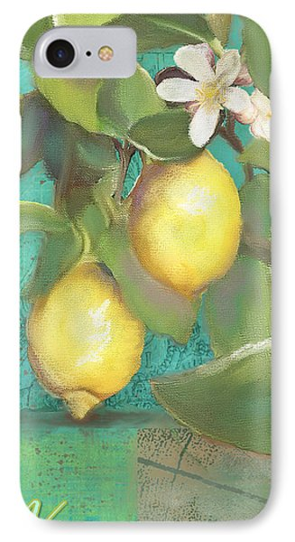 Tuscan Lemon Tree - Damask Pattern 2 IPhone Case by Audrey Jeanne Roberts