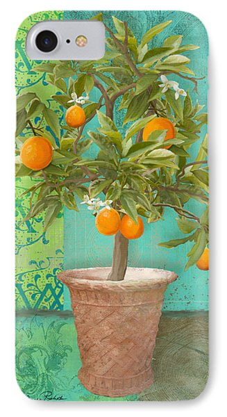 Tuscan Orange Topiary - Damask Pattern 2 IPhone Case by Audrey Jeanne Roberts