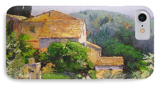 IPhone Case featuring the painting Tuscan Village by Chris Hobel