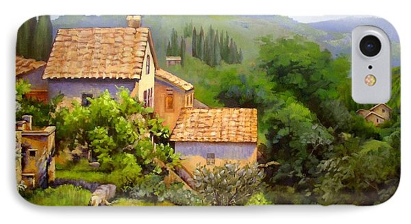 IPhone Case featuring the painting Tuscan Village Memories by Chris Hobel