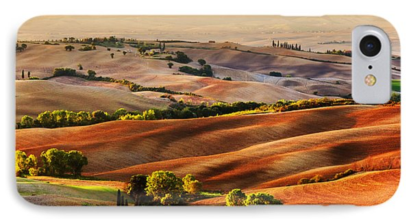 Tuscany Countryside Landscape At Sunrise IPhone Case by Michal Bednarek