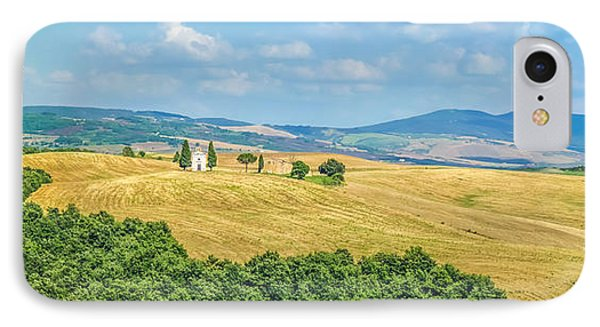 Tuscany Landscape With Famous Cappella Della Madonna Di Vitaleta IPhone Case by JR Photography