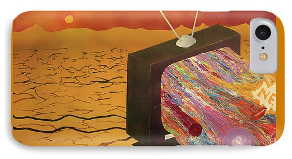 IPhone Case featuring the painting Tv Wasteland by Thomas Blood