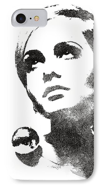 Twiggy Bw Portrait IPhone Case by Mihaela Pater
