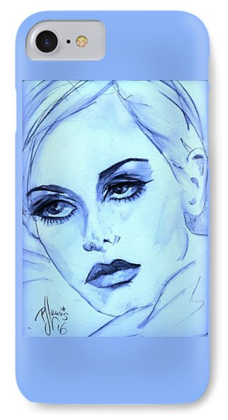 IPhone Case featuring the painting Twiggy In Blue by P J Lewis