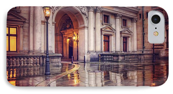 IPhone Case featuring the photograph Twilight At Hamburg Town Hall Courtyard  by Carol Japp