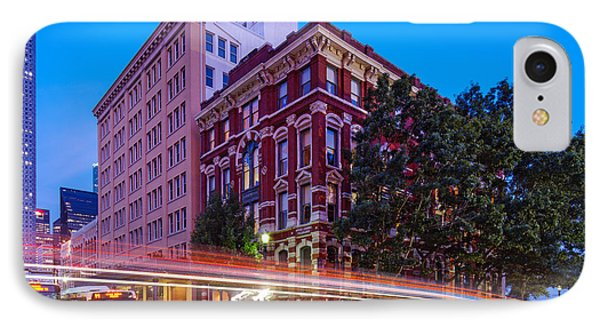 Twilight Blue Hour Shot Of The Cotton Exchange Building In Downtown Houston - Harris County Texas  IPhone Case by Silvio Ligutti
