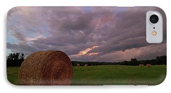 Twilight Hay Bale IPhone Case by Jerry LoFaro