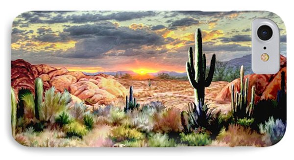Twilight On The Desert IPhone Case by Ron Chambers