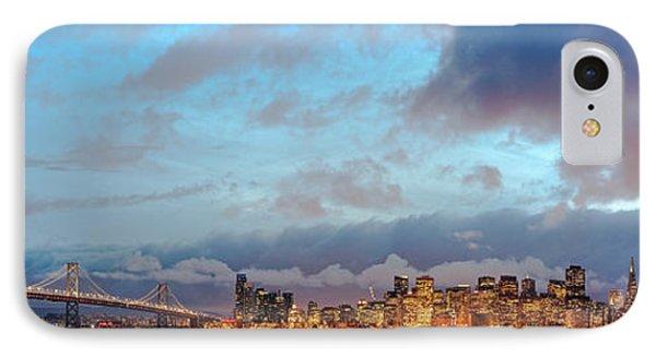 Twilight Panorama Of San Francisco Skyline And Bay Area Bridge From Treasure Island - California IPhone Case