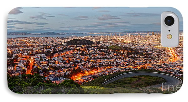 Twilight Panorama Of San Francisco Skyline And Bay Area From Twin Peaks Overlook - California IPhone Case