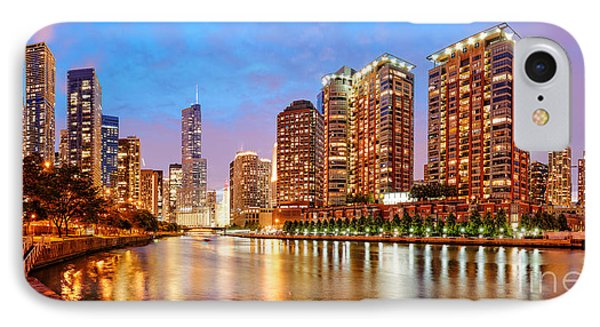 Twilight Panorama Of The Chicago River From Lake Shore Drive - Chicago Riverwalk Illinois IPhone Case