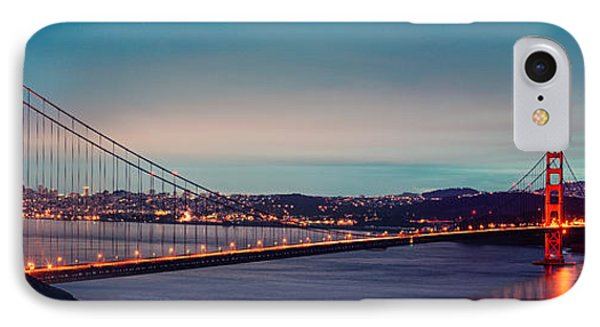 Twilight Panorama Of The Golden Gate Bridge From The Marin Headlands - San Francisco California IPhone Case by Silvio Ligutti