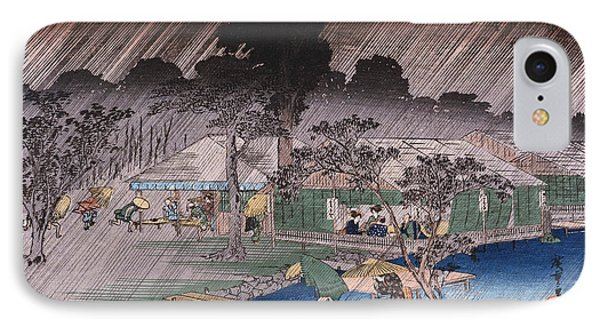 Twilight Shower At Tadasu Bank IPhone Case by Hiroshige