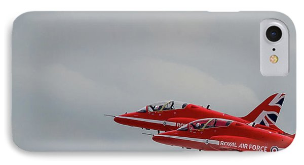 IPhone Case featuring the photograph Twin Red Arrows Taking Off - Teesside Airshow 2016 by Scott Lyons
