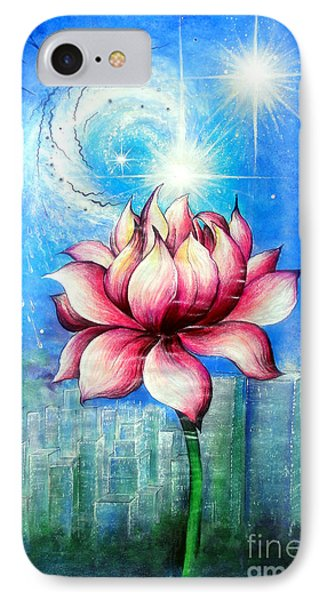 Twin Stars, Lotus And New York City IPhone Case by Sofia Metal Queen