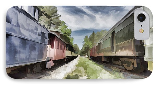 Twixt The Trains IPhone Case by Roberta Byram
