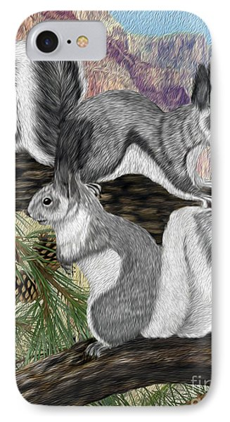 Two Abret Squirrels IPhone Case by Walter Colvin