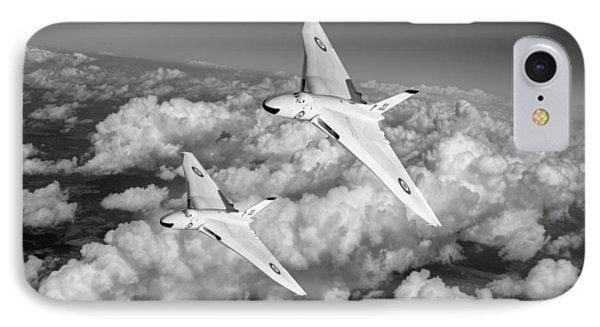 IPhone 7 Case featuring the photograph Two Avro Vulcan B1 Nuclear Bombers Bw Version by Gary Eason