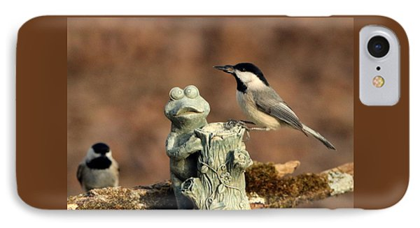 Two Black-capped Chickadees And Frog IPhone Case by Sheila Brown
