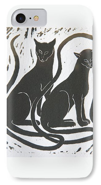 IPhone 7 Case featuring the drawing Two Black Felines by Nareeta Martin