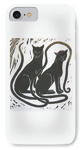 Two Black Felines IPhone Case by Nareeta Martin