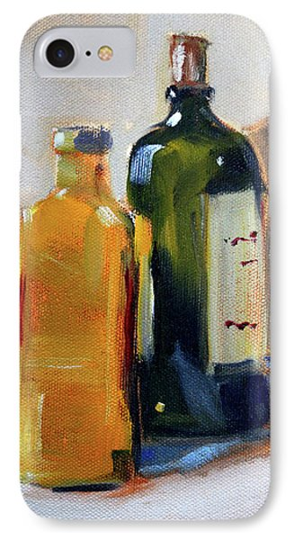 IPhone Case featuring the painting Two Bottles by Nancy Merkle