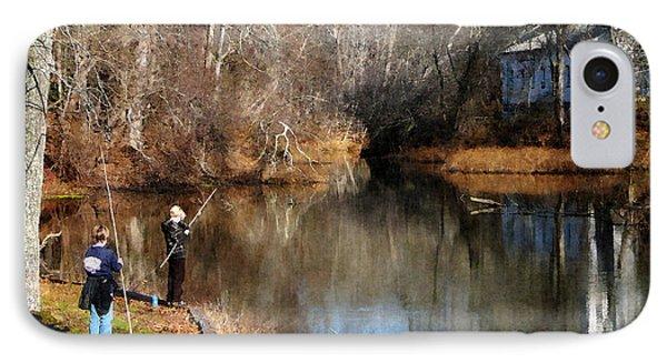 Two Boys Fishing Phone Case by Susan Savad