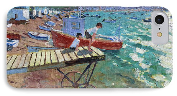 Two Boys On The Landing Stage, Teignmouth IPhone Case by Andrew Macara