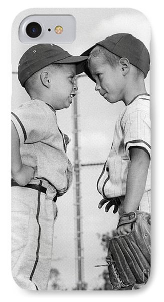 Two Boys Playing Baseball Arguing IPhone Case by H. Armstrong Roberts/ClassicStock