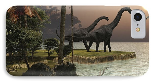 Two Brachiosaurus Dinosaurs Enjoy IPhone Case by Corey Ford