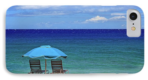 IPhone Case featuring the photograph Two Chairs And An Umbrella by James Eddy