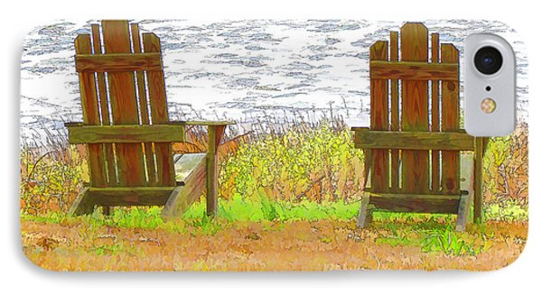 Two Chairs Facing The Lake Phone Case by Lanjee Chee