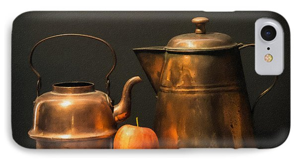 IPhone Case featuring the photograph Two Copper Pots And An Apple by Frank Wilson