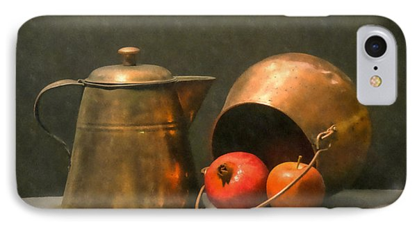 IPhone Case featuring the photograph Two Copper Pots Pomegranate And An Apple by Frank Wilson