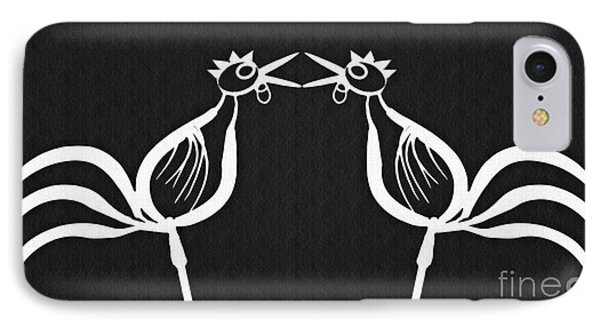 Two Crowing Roosters 2 IPhone Case by Sarah Loft