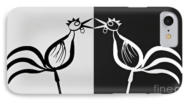 Two Crowing Roosters 3 IPhone Case