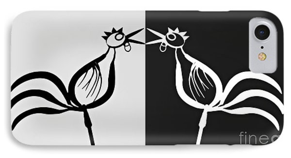 Two Crowing Roosters 3 IPhone Case by Sarah Loft