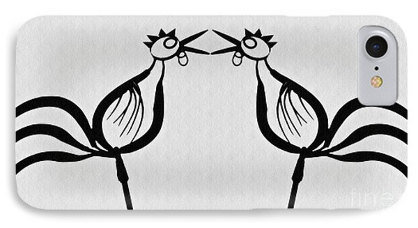 Two Crowing Roosters  IPhone Case by Sarah Loft