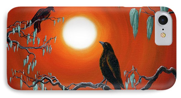 Two Crows On Mossy Branches IPhone Case by Laura Iverson