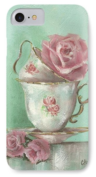 Two Cup Rose Painting IPhone Case by Chris Hobel