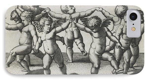 Two Cupids Leading Children In A Dance IPhone Case by Marcantonio Raimondi